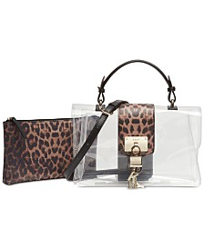 DKNY Elissa Leopard Flap Clear Shoulder Bag, Created for Macy's