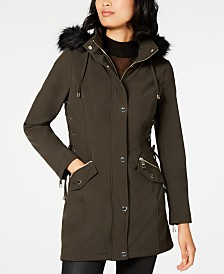 GUESS Faux-Fur-Trim Lace-Up Raincoat