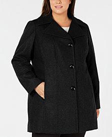 Anne Klein Plus Size Single-Breasted Walker Coat