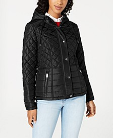 Juniors' Hooded Quilted Coat