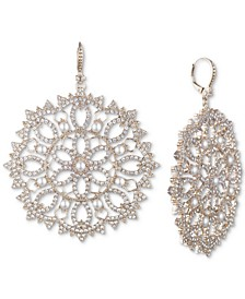 Gold-Tone Crystal & Imitation Pearl Filigree Drop Earrings