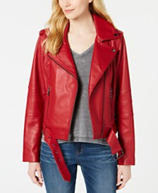 MICHAEL Michael Kors Leather Belted Moto Jacket, Created for Macy's