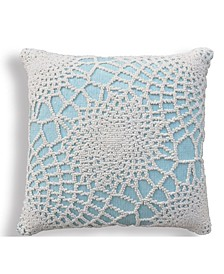 Looped Jacquard Throw Pillow with Lace Pattern