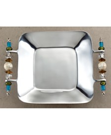 """St. Croix KINDWER 13"""" Multi Colored Beaded Square Serving Tray"""