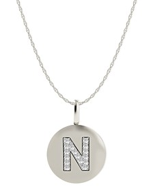 14k White Gold Necklace, Diamond Accent Letter N Disk Pendant