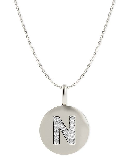 Macy's 14k White Gold Necklace, Diamond Accent Letter N Disk
