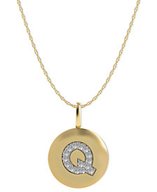 14k Gold Necklace, Diamond Accent Letter Q Disk Pendant