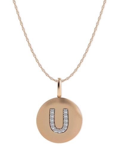 14k Rose Gold Necklace, Diamond Accent Letter U Disk Pendant