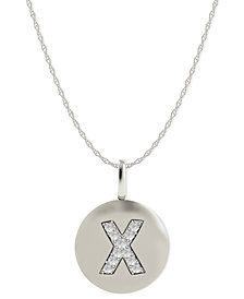 14k White Gold Necklace, Diamond Accent Letter X Disk Pendant