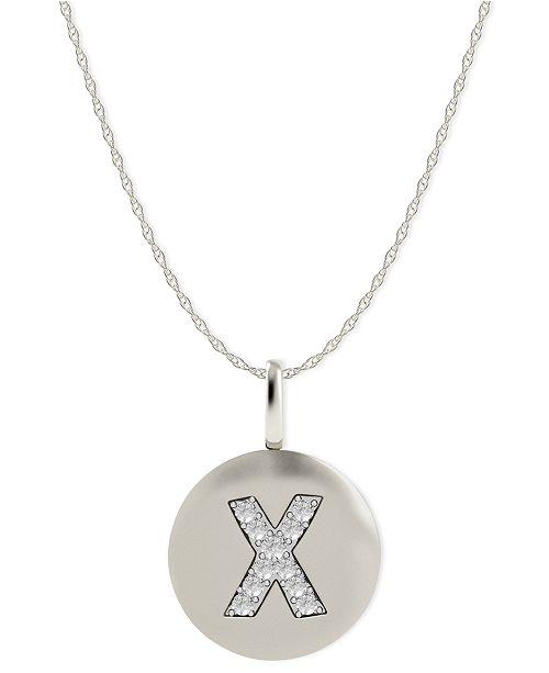 Macy's 14k White Gold Necklace, Diamond Accent Letter X Disk Pendant