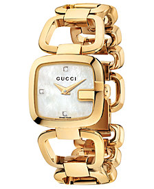 Gucci Women's Swiss G-Gucci Diamond Accent Yellow Gold PVD Stainless Steel Bracelet Watch 24x22mm YA125513