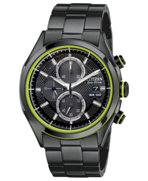 Citizen Men's Chronograph Drive from Citizen Eco-Drive Black Ion-Plated Stainless Steel Bracelet Watch 40mm CA0435-51E