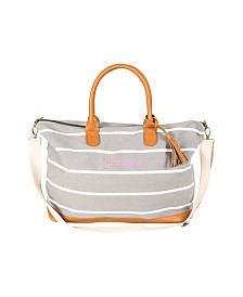 Cathy's Concepts Bridesmaid Striped Weekender Tote