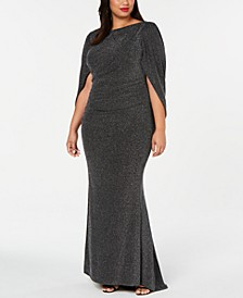 Plus Size Metallic Glitter Capelet Gown
