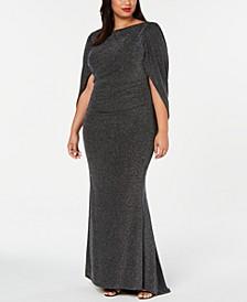 Plus Size Metallic Glitter Capelet Gown
