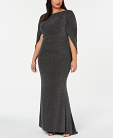 Betsy & Adam Plus Size Metallic Glitter Capelet Gown