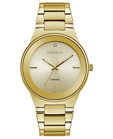 Caravelle Designed by Bulova Men's Diamond-Accent Gold-Tone Stainless Steel Bracelet Watch 40mm