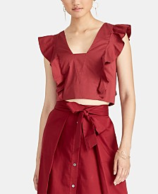 RACHEL Rachel Roy Marica Cropped Ruffled Top