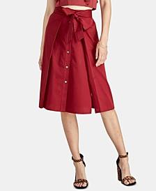 Neo Tie-Waist Button-Front Skirt