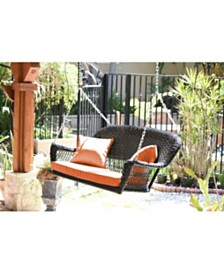 Jeco Resin Wicker Porch Swing with Cushion