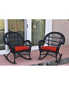 Jeco Santa Maria Wicker Rocker Chair with Cushion - Set of 2