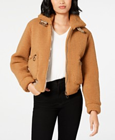 Collection B Juniors' Faux-Fur Teddy Bomber Jacket