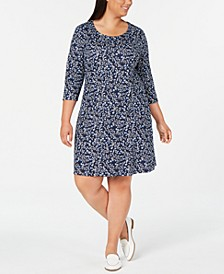 Plus Size 3/4-Sleeve Floral-Print Dress, Created for Macy's
