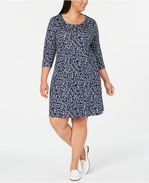 Plus Size 3/4-Sleeve Floral-Print Dress, Created for Macy\'s