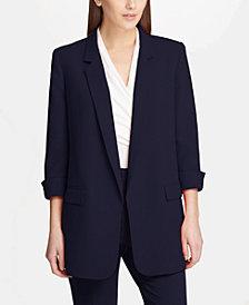 DKNY Open-Front Long Blazer