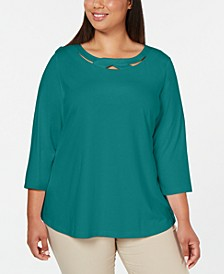 Plus Size 3/4-Sleeve Cutout Top, Created for Macy's