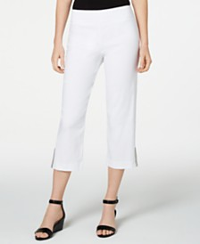 JM Collection Petite Embellished-Hem Cropped Pants, Created for Macy's