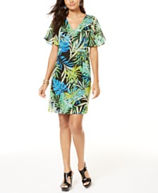 Printed Thalia Sodi Necklace Shift Dress, Created for Macy's