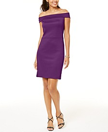 Mesh-Trim Off-The-Shoulder Dress, Created for Macy's