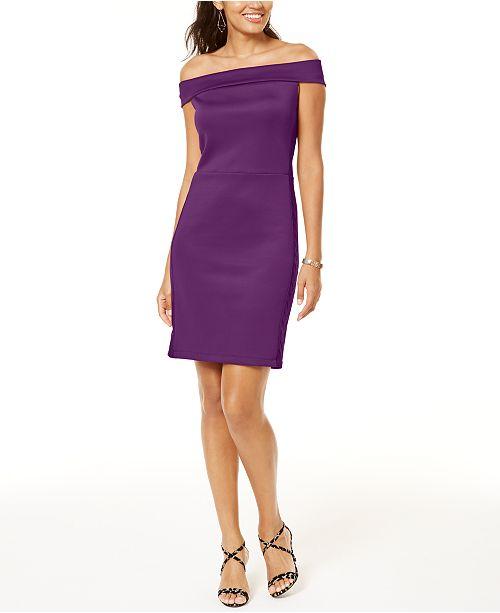 Thalia Sodi Mesh-Trim Off-The-Shoulder Dress, Created for Macy's