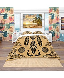 Designart 'Ethnic Decorative Mask' African Duvet Cover Set - Queen