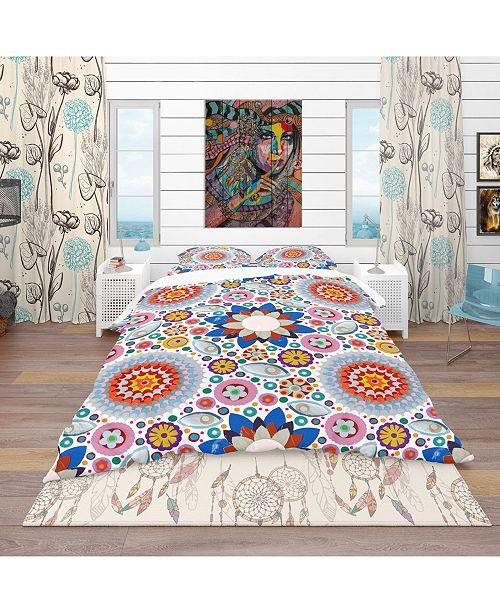 Design Art Designart 'Abstract Flowers Pattern' Bohemian and Eclectic Duvet Cover Set - King