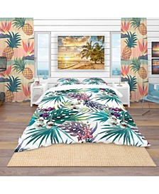Designart 'Pattern Orchid Hibiscus Leaves Watercolor Tropics' Tropical Duvet Cover Set - King