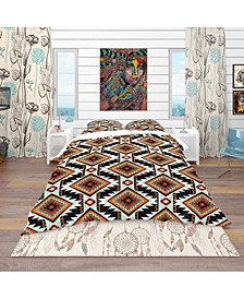 Designart 'First Nations Pattern' Southwestern Duvet Cover Set - Queen