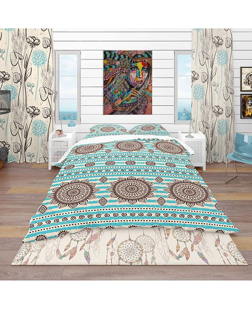 Design Art Designart 'Vintage Decorative Pattern' Bohemian and Eclectic Duvet Cover Set - Queen