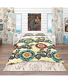 Designart 'Floral Paisley Ethnic Background' Bohemian and Eclectic Duvet Cover Set - King