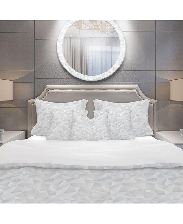 Design Art Designart 'Abstract White Geometric Pattern' Scandinavian Duvet Cover Set - King