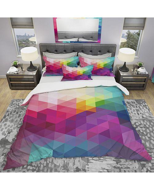 Design Art Designart 'Abstract Colorful Pattern' Modern Duvet Cover Set - King