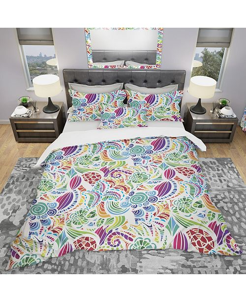 Design Art Designart 'Colorful Mosaic Pattern' Modern and Contemporary Duvet Cover Set - Queen