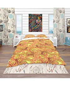 Designart 'Ornament Ethnic Abstract Pattern' Bohemian and Eclectic Duvet Cover Set - Queen