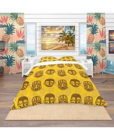 Designart 'Pattern Of Tribal Masks' Tropical Duvet Cover Set - Queen