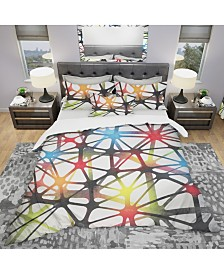 Designart 'Triangular Abstract Black And White Lined 3D Illustration' Modern and Contemporary Duvet Cover Set - Queen