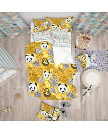Designart 'Cute Doodle Panda' Oriental Kids Duvet Cover Set - Queen
