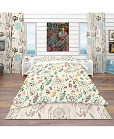Designart 'Pattern With Native Indian-American Dream Catcher' Southwestern Duvet Cover Set