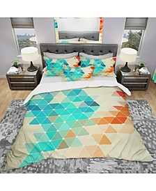 Designart 'Abstract Colorful Geometric Pattern' Modern Duvet Cover Set - Twin