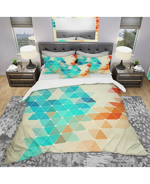 Design Art Designart 'Abstract Colorful Geometric Pattern' Modern Duvet Cover Set - Twin